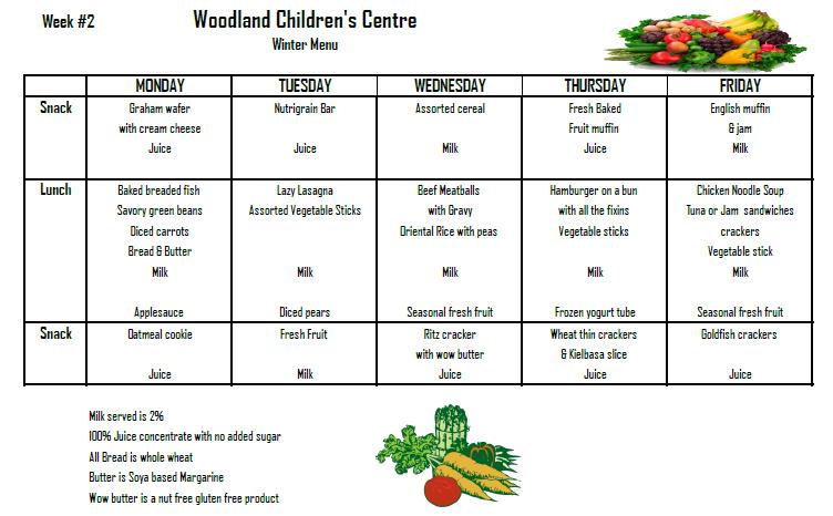 daycare winter menu